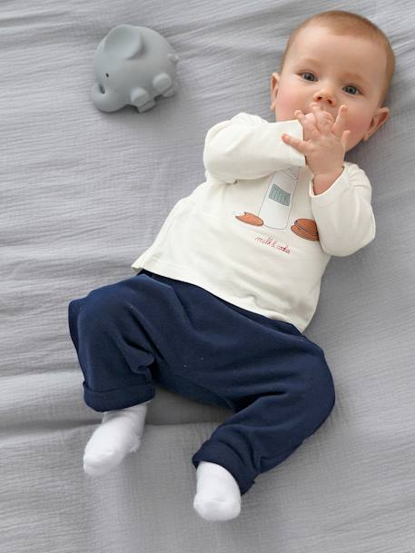Babies' Harem-Style Fleece Trousers BLUE DARK SOLID+GREY LIGHT MIXED COLOR+WHITE LIGHT ALL OVER PRINTED - vertbaudet enfant