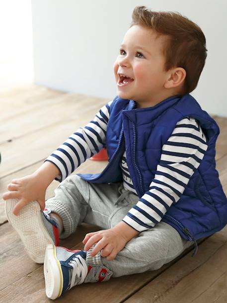 Baby Boys' Fleece Trousers BLUE LIGHT SOLID+GREY MEDIUM MIXED COLOR - vertbaudet enfant