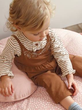 Baby-Dungarees & All-in-ones-Loose-Fitting & Embroidered Jumpsuit for Baby Girls