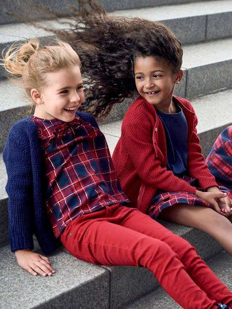 Woollen Coat for Girls RED DARK CHECKS - vertbaudet enfant