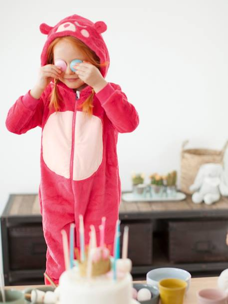Girls' Plush Knit Onesie RED LIGHT SOLID WITH DESIGN - vertbaudet enfant