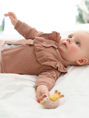 Baby-Cardigans & Sweaters-Knitted Cardigan with Frill for Newborn Babies