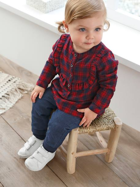 Tartan Blouse for Baby Girls RED DARK CHECKS - vertbaudet enfant