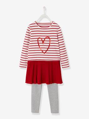 Vertbaudet Sale-Girls-Dresses-Dress + Leggings Outfit for Girls
