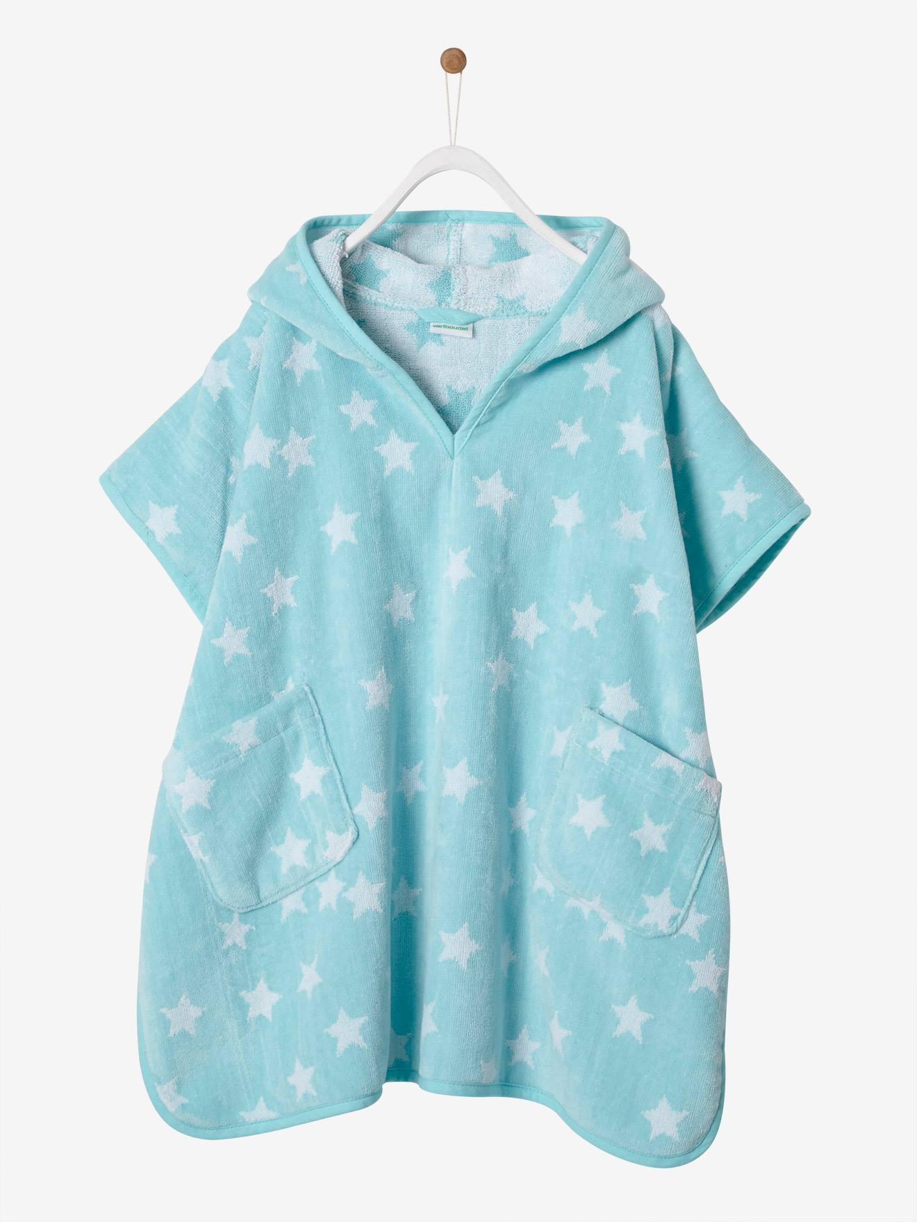 Hooded Bath Poncho with Star Print for Children - white light all over  printed, Bedding & Decor