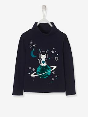 Girls-Tops-Roll Neck Tops-Astrocat Top for Girls, with Reversible Sequins and Iridescent Motifs