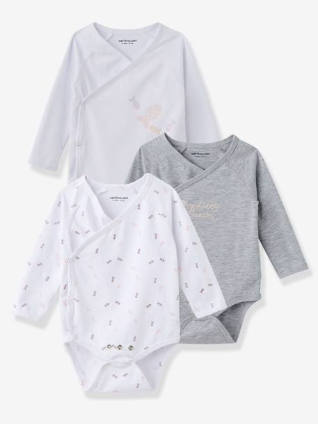 Newborn Baby Pack of 3 Adaptable White Bodysuits, Stretch Cotton, Long Sleeves Pale pink+Sea green - vertbaudet enfant