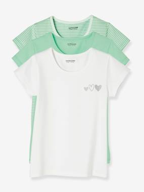 Fille-Sous-vêtement-T-shirt-Lot de 3 T-shirts stretch fille manches courtes