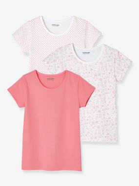 Girls-Underwear-T-Shirts-Pack of 3 Short-Sleeved T-Shirts for Girls