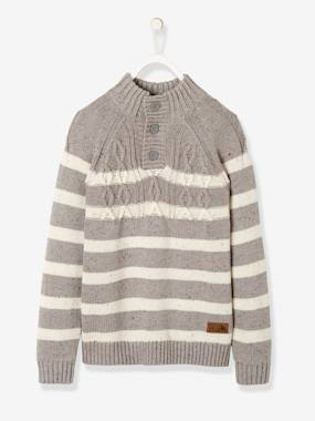 Vertbaudet Sale-Boys-Cardigans, Jumpers & Sweatshirts-Striped Jumper with High Neck for Boys