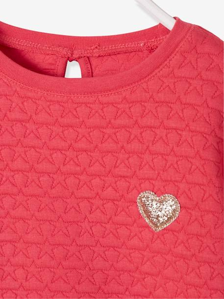 Sweat fille molleton texturé Encre+ROSE PALE+ROSE VIF - vertbaudet enfant