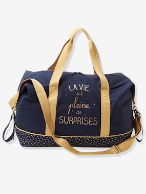 Nursery-Weekend Changing Bag with Print: La Vie est Pleine de Surprises