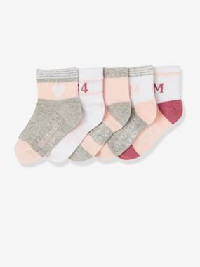 Girls-Sportswear-Pack of 5 Pairs of Sports Socks for Girls