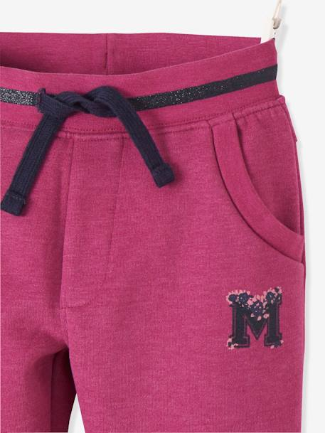 Fleece Joggers for Girls BLUE DARK SOLID WITH DESIGN+GREY LIGHT MIXED COLOR+PINK DARK SOLID WITH DESIGN - vertbaudet enfant