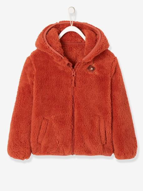 d791054e3 Hooded Plush Fleece Jacket for Girls - red medium solid with desig