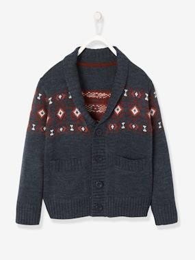 Boys-Cardigans, Jumpers & Sweatshirts-Cardigans-Jacquard Knit Cardigan for Boys