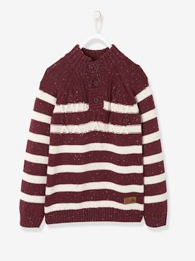 Boys-Cardigans, Jumpers & Sweatshirts-Jumpers-Striped Jumper with High Neck for Boys