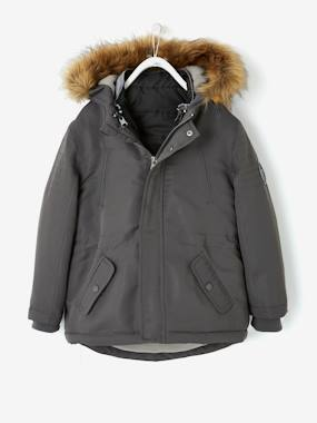 Vertbaudet Sale-Boys-4-in-1 Parka with Fleece Lining for Boys