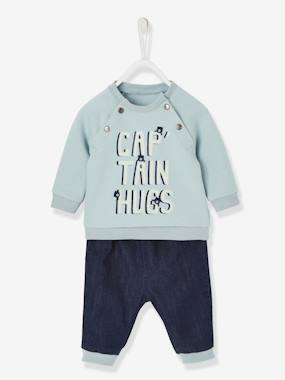 Vertbaudet Sale-Baby-Sweatshirt & Jeans Outfit for Babies, Captain Hugs