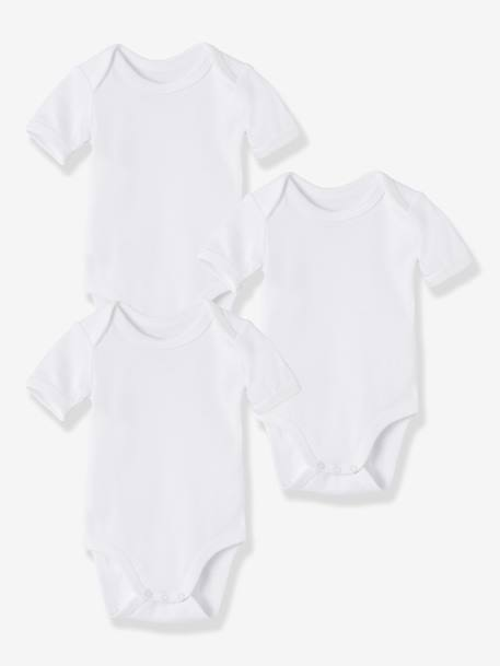 Baby Pack of 3 Short-Sleeved White Bodysuits in Pure Cotton White - vertbaudet enfant