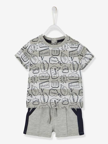 T-Shirt & Bermuda Shorts Outfit with Speech Bubbles and Stripes, for Babies GREY LIGHT MIXED COLOR - vertbaudet enfant
