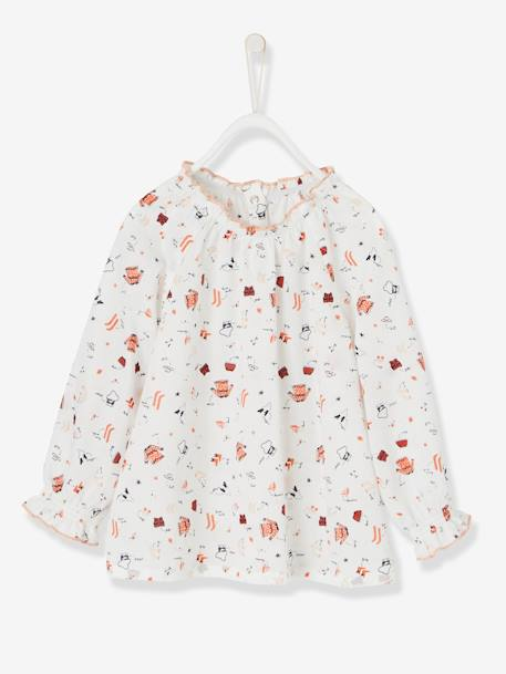 Baby Girls' Printed Blouse & Cord Skirt with Braces Outfit Set WHITE LIGHT ALL OVER PRINTED - vertbaudet enfant