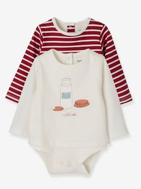 Schoolwear-Baby-Pack of 2 Bodysuit-Tops with Motif, for Newborn Babies