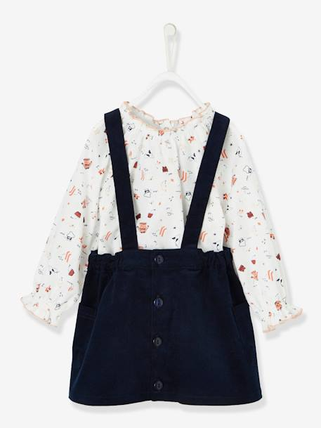 Baby Girls' Printed Blouse & Cord Skirt with Braces Outfit Set BLUE DARK SOLID+WHITE LIGHT ALL OVER PRINTED - vertbaudet enfant