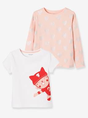 Winter collection-Girls-Tops-Pack of 2 Printed Tops in Pure Cotton for Girls
