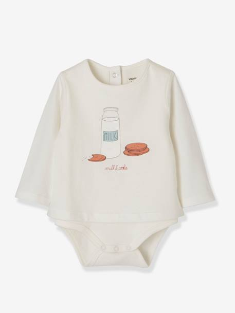 Pack of 2 Bodysuit-Tops with Motif, for Newborn Babies GREY LIGHT TWO COLOR/MULTICOL+RED DARK 2 COLOR/MULTICOLOR - vertbaudet enfant