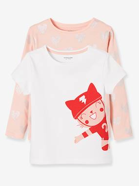 Vertbaudet - Collection maternelle : t shirt réversible, vêtements enfant-Fille-Lot de 2 t-shirts fille imprimés en pur coton.
