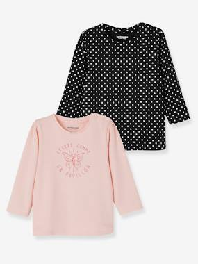 Vertbaudet Sale-Baby-T-shirts & Roll Neck T-Shirts-Pack of 2 Tops with Message, for Baby Girls