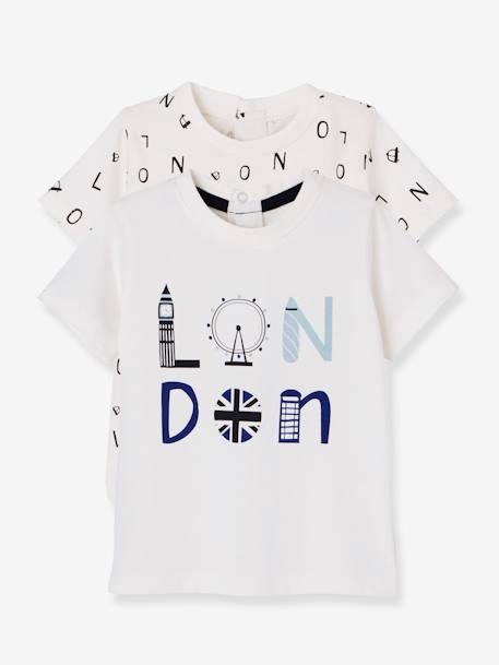 Pack of 2 Tops with London Print for Baby Boys WHITE LIGHT TWO COLOR/MULTICOL - vertbaudet enfant