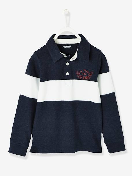 Long-Sleeved Polo Shirt for Boys BLUE DARK SOLID WITH DESIGN+GREY LIGHT MIXED COLOR+RED DARK SOLID WITH DESIGN - vertbaudet enfant
