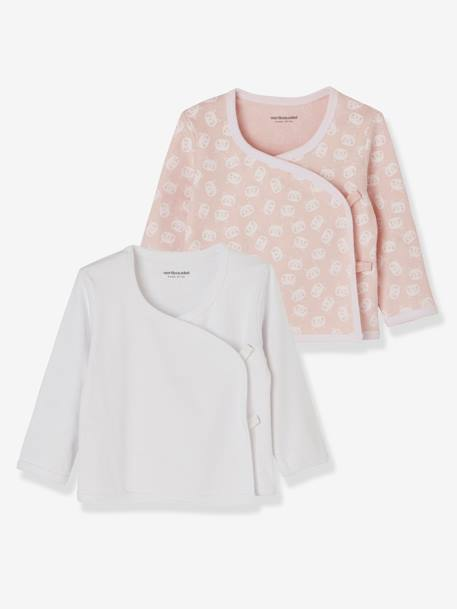 Pack of 2 Wrapover tops for Newborns in Organic Cotton Jersey Knit PINK LIGHT 2 COLOR/MULTICOL R+WHITE LIGHT TWO COLOR/MULTICOL - vertbaudet enfant