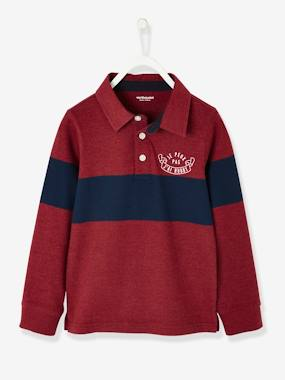 Vertbaudet Sale-Boys-Long-Sleeved Polo Shirt for Boys