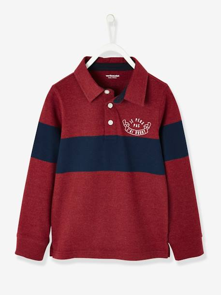 a84edc9d4950e Long-Sleeved Polo Shirt for Boys - red dark solid with design …