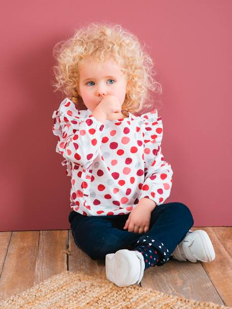 Long-Sleeved Blouse in Cotton Voile for Girls RED DARK ALL OVER PRINTED - vertbaudet enfant