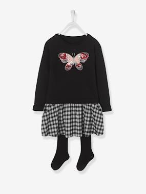 Vertbaudet Collection-Dress + Tights Outfit for Girls