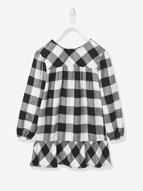 Vertbaudet Sale-Girls-Chequered Dress with Frilled Hem for Girls