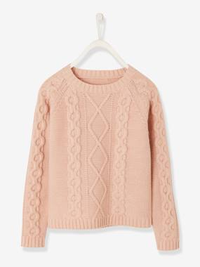 Girls-Cardigans, Jumpers & Sweatshirts-Cable-Knit Jumper for Girls