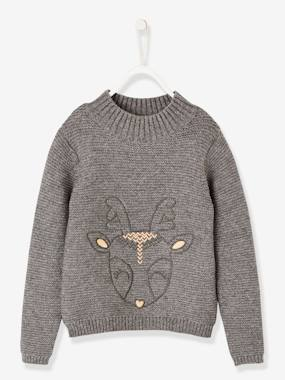Vertbaudet Sale-Girls-Cardigans, Jumpers & Sweatshirts-Embroidered Deer Pullover for Girls