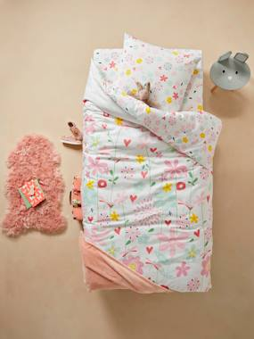Bedding & Decor-Child's Bedding-Duvet Cover + Pillowcase Set for Children, Flowers and Dragonflies Theme