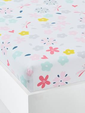 Bedding-Children's Fitted Sheet, Flowers & Dragonflies Theme