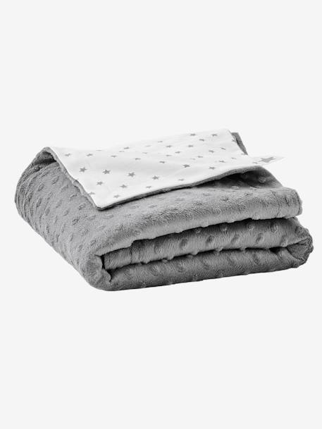Stella Double-Sided Blanket in Fleece/Polar Fleece for Babies GREY DARK SOLID+PINK LIGHT SOLID - vertbaudet enfant