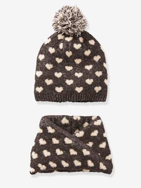 Girls-Accessories-Winter Hats, Scarves, Gloves & Mittens-Beanie + Snood with Hearts for Girls