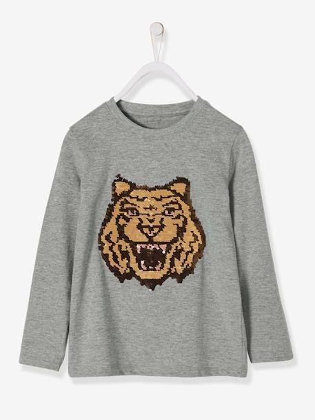 Top with Stylish Sequins for Boys GREY LIGHT MIXED COLOR - vertbaudet enfant