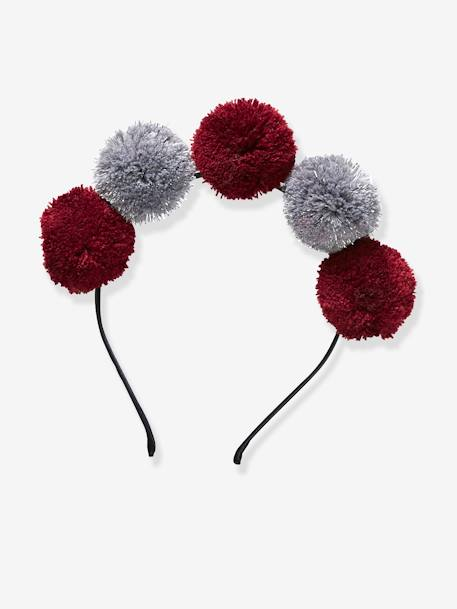 Alice Band with Pompoms for Girls GREY DARK TWO COLOR/MULTICOL - vertbaudet enfant