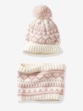 Baby-Hats & Accessories-Jacquard-Type Beanie & Snood Set for Babies