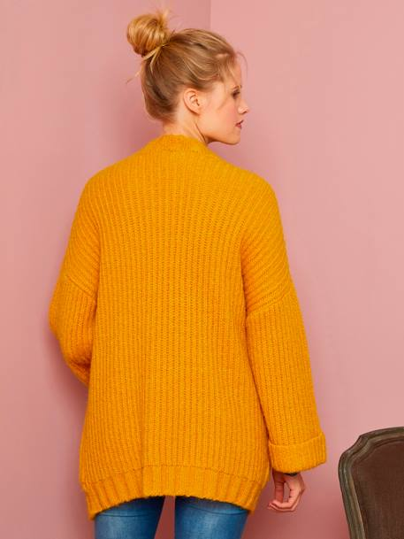 Thick Knit Cardigan for Maternity and Nursing PINK DARK STRIPED+YELLOW MEDIUM SOLID - vertbaudet enfant